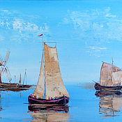Картины и панно ручной работы. Ярмарка Мастеров - ручная работа Картина Море, лодки, парус (мельница). Handmade.