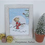 Картины и панно ручной работы. Ярмарка Мастеров - ручная работа Мишка в Зимнем лесу. Handmade.