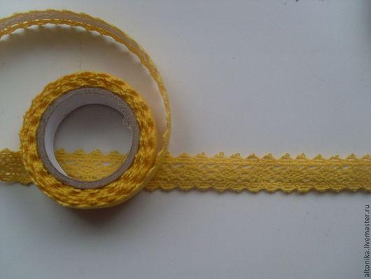 Шитье ручной работы. Ярмарка Мастеров - ручная работа. Купить Скотч тканевый( кружево) + желтый цвет. Handmade. Кружево