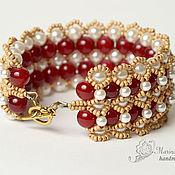 Украшения handmade. Livemaster - original item The wide bracelet from beads Maroon white gold. Handmade.