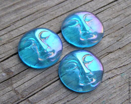 Для украшений ручной работы. Ярмарка Мастеров - ручная работа. Купить Кабошон лицо, кабошон личико, голубой 19мм К133. Handmade.