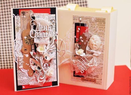 Свадебные открытки ручной работы. Ярмарка Мастеров - ручная работа. Купить Свадебный комплект (открытка + конверт дя денег  в пакете). Handmade.