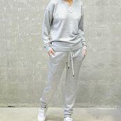 Одежда ручной работы. Ярмарка Мастеров - ручная работа Костюм вязаный женский Light Gray. Handmade.