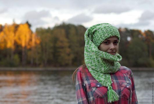 """Шапки ручной работы. Ярмарка Мастеров - ручная работа. Купить Шапка-шарф """"Два"""". Handmade. Зеленый, шапка"""