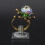Украшения ручной работы. Ярмарка Мастеров - ручная работа Туманное утро - латунное кольцо с авторским стеклом. Handmade.