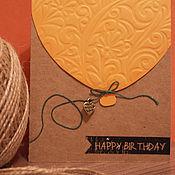 Открытки ручной работы. Ярмарка Мастеров - ручная работа Открытка с шариками на День Рождения. Handmade.