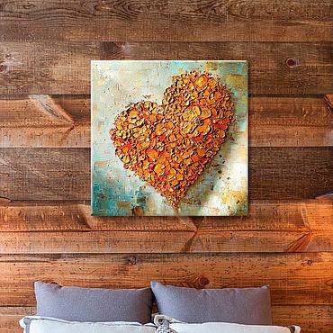 Картины и панно ручной работы. Ярмарка Мастеров - ручная работа Текстурное сердце - интерьерная картина на холсте. Handmade.