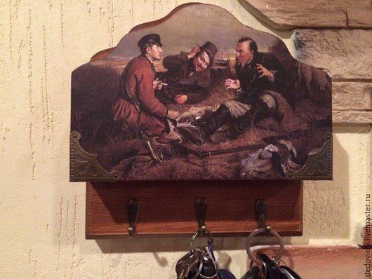 """Прихожая ручной работы. Ярмарка Мастеров - ручная работа. Купить Ключница с карманом """"На привале"""". Handmade. Ключница ручной работы"""