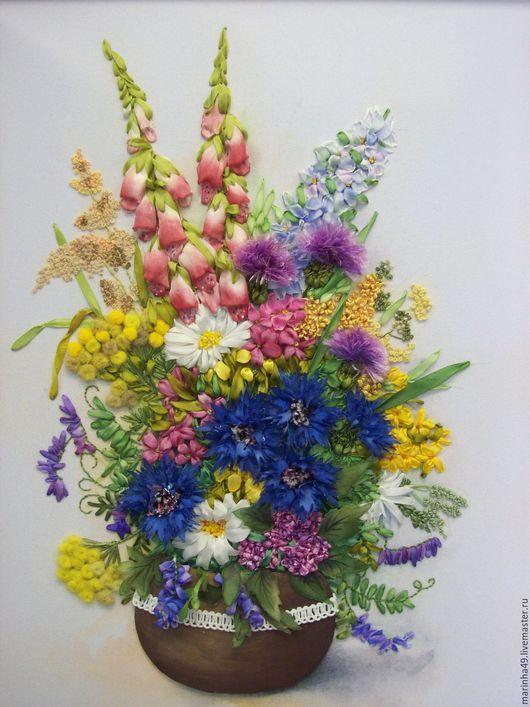Картины цветов ручной работы. Ярмарка Мастеров - ручная работа. Купить Картина вышитая лентами Букет полевых цветов. Handmade.