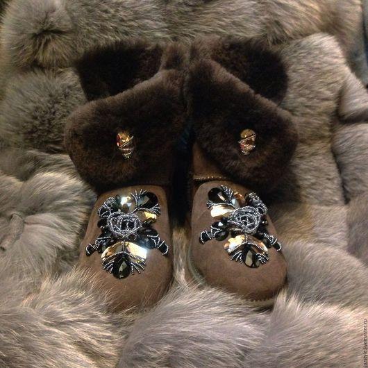 Обувь ручной работы. Ярмарка Мастеров - ручная работа. Купить Эксклюзивные Ugg's U-7. Handmade. Коричневый, ugg, Сваровски