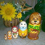 Русский стиль handmade. Livemaster - original item Matryoshka fairy tale Masha and the bear 5 seats. Handmade.