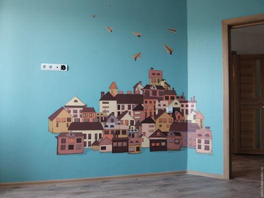 Город ручной работы. Ярмарка Мастеров - ручная работа. Купить Декор стены в гостиной. Handmade. Комбинированный, домики, городской стиль