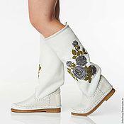 Обувь ручной работы handmade. Livemaster - original item ROSA white / Women`s sheepskin fur boots with suede top. Handmade.