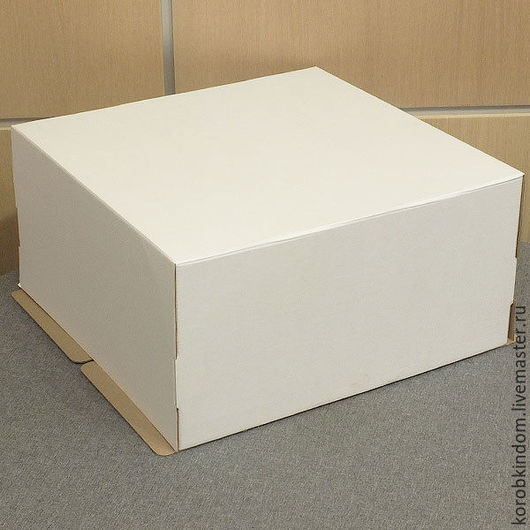 Упаковка ручной работы. Ярмарка Мастеров - ручная работа. Купить Коробка 40х40х20 для торта из микрогофрокартона белого. Handmade. Коробочка