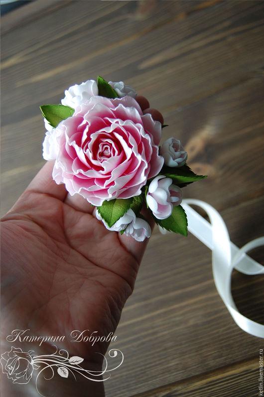 Браслеты ручной работы. Ярмарка Мастеров - ручная работа. Купить Цветочный браслет с розой и цветами вишни. Handmade. Комбинированный, пастель