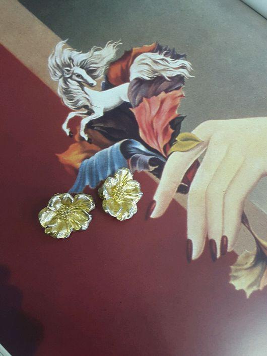 Винтажные украшения. Ярмарка Мастеров - ручная работа. Купить клипсы Kenzo цветы 1980e. Handmade. Кензо, винтаж