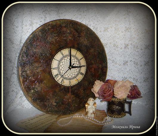 """Часы для дома ручной работы. Ярмарка Мастеров - ручная работа. Купить Часы большие """"Время в камне"""". Handmade. Коричневый"""