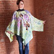 Одежда ручной работы. Ярмарка Мастеров - ручная работа Скоро Весна легкое шерстяное пончо. Handmade.