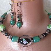 handmade. Livemaster - original item Boho necklace Lampwork Jade Black agate Ceramic. Handmade.