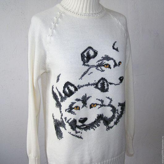 Кофты и свитера ручной работы. Ярмарка Мастеров - ручная работа. Купить Свитер. Волки. Handmade. Белый, свитер теплый