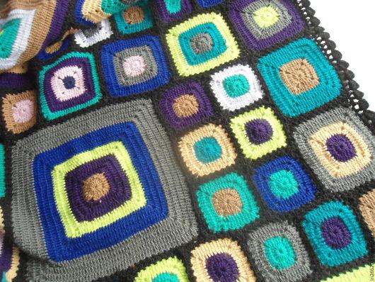Текстиль, ковры ручной работы. Ярмарка Мастеров - ручная работа. Купить Плед Витражи. Handmade. Тёмно-фиолетовый, покрывало на диван