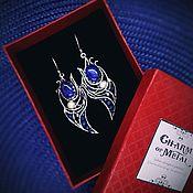"""Украшения ручной работы. Ярмарка Мастеров - ручная работа """"The Order of the Thistle"""" Серебряные серьгис лазуритами. Handmade."""