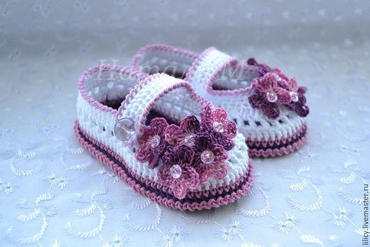 """Для новорожденных, ручной работы. Ярмарка Мастеров - ручная работа. Купить Туфельки """" Сирень """". Handmade. Белый"""