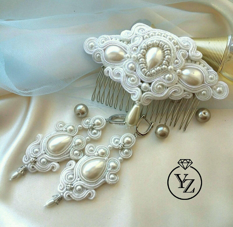 839631e3f Wedding Jewelry handmade. Livemaster - handmade. Buy Wedding jewelry set, long  soutache earrings ...