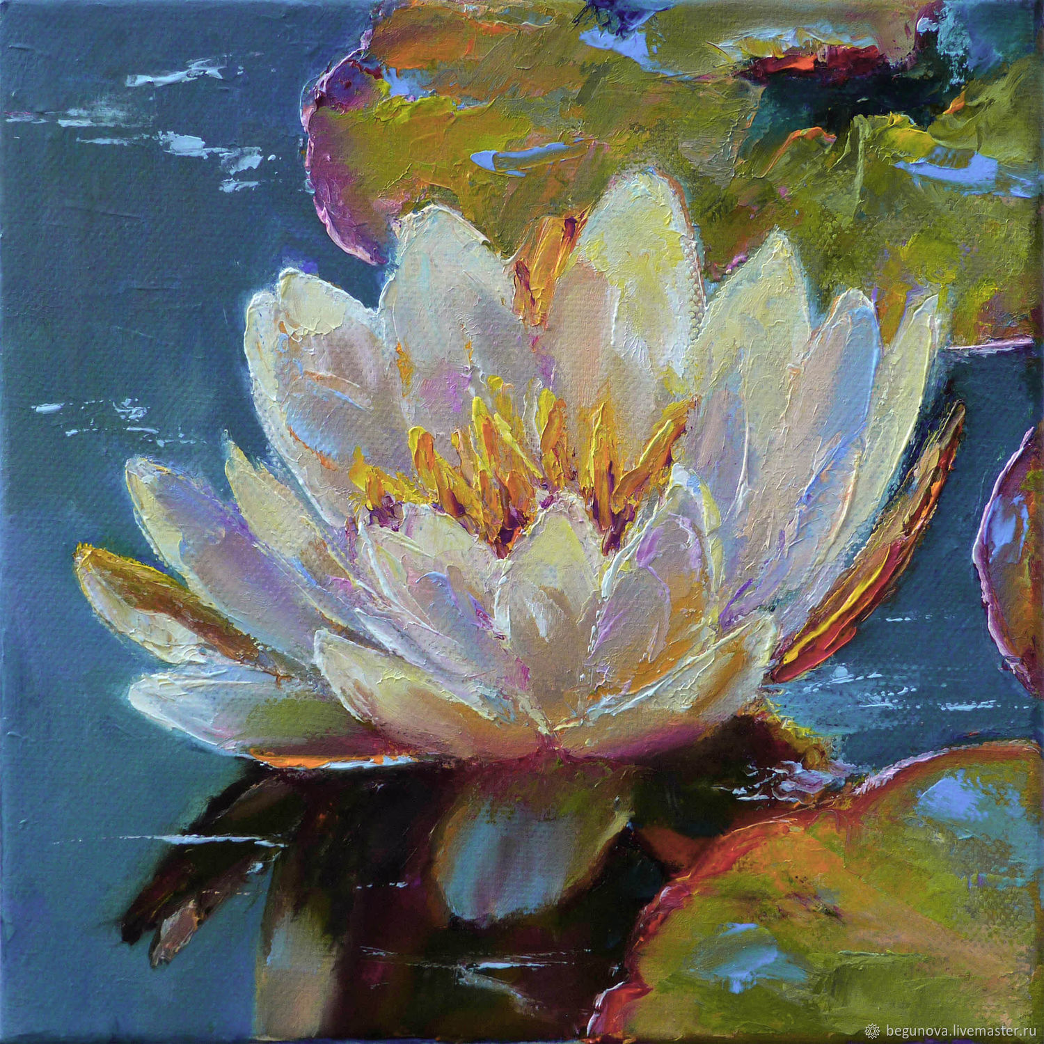 Oil painting water Lily, white flower, order a picture, Pictures, Krasnodar,  Фото №1