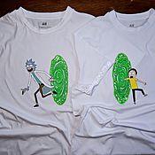 Сувениры и подарки handmade. Livemaster - original item Hand-painted pair of t-shirts