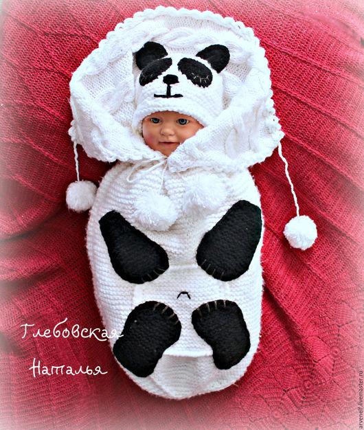 """Для новорожденных, ручной работы. Ярмарка Мастеров - ручная работа. Купить Комплект для новорожденного  """"Панденыш"""". Handmade. Белый, вязание для детей"""
