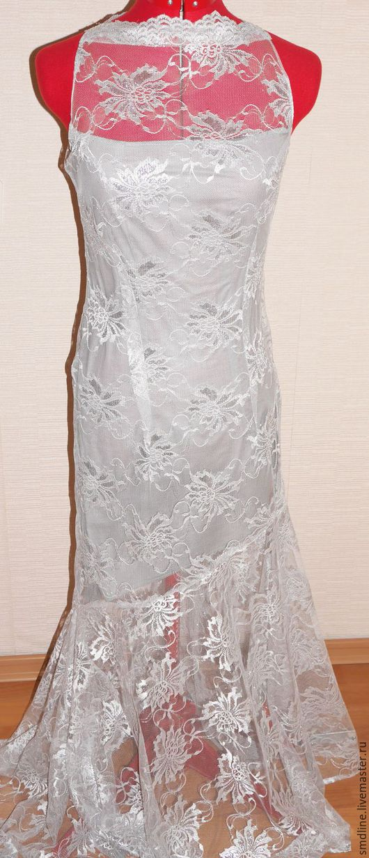 Платья ручной работы. Ярмарка Мастеров - ручная работа. Купить Вечернее платье из кружева. Handmade. Серебряный, длинное платье