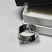 Украшения ручной работы. Ярмарка Мастеров - ручная работа Классическое широкое кольцо из белого золота с бриллиантом. Handmade.