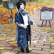 Шарнирная кукла ручной работы. Ярмарка Мастеров - ручная работа Джинсовый плащ для куклы БЖД 45 см. Handmade.