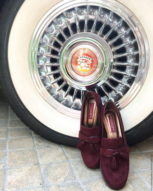 Обувь ручной работы. Ярмарка Мастеров - ручная работа. Купить Лоферы. Handmade. Бордовый, ботиночки, женская обувь, кожа натуральная