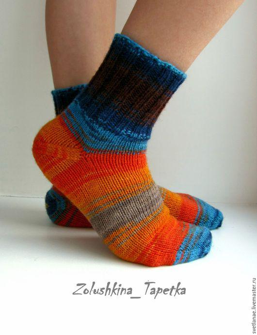 Носки, гольфы, гетры ручной работы. Ярмарка Мастеров - ручная работа. Купить р.31 Детские шерстяные носки арт.Арлекин оранж бирюза шоколад. Handmade.