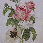 """Картины и панно ручной работы. Ярмарка Мастеров - ручная работа Вышитая картина""""Роза и бабочка"""". Handmade."""