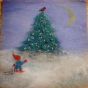 """Картины и панно ручной работы. Ярмарка Мастеров - ручная работа 3-D картина """"Шерстяная Сказка"""" ... про Рождество!. Handmade."""