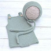 Работы для детей, ручной работы. Ярмарка Мастеров - ручная работа Комбинезон + шапочка для фотосессии новорожденного. Handmade.
