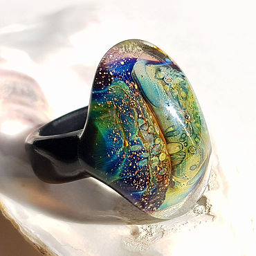 Decorations handmade. Livemaster - original item Space reptile ring size 18 1/4. Handmade.