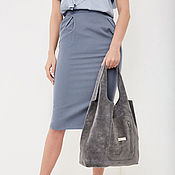 Сумки и аксессуары handmade. Livemaster - original item Bag suede leather grey bag shopper shopping Bag t shirt Bag. Handmade.
