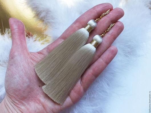 """Серьги ручной работы. Ярмарка Мастеров - ручная работа. Купить Серьги - кисточки """"Крем"""". Handmade. Серьги, серьги длинные"""