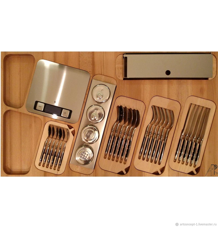 Wooden multipurpose tray with inserts in box 90cm beech, Utensils, Ryazan,  Фото №1