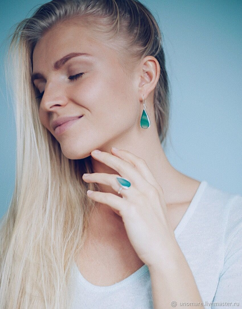 Green agate earrings and ring, Jewelry Sets, Moscow,  Фото №1