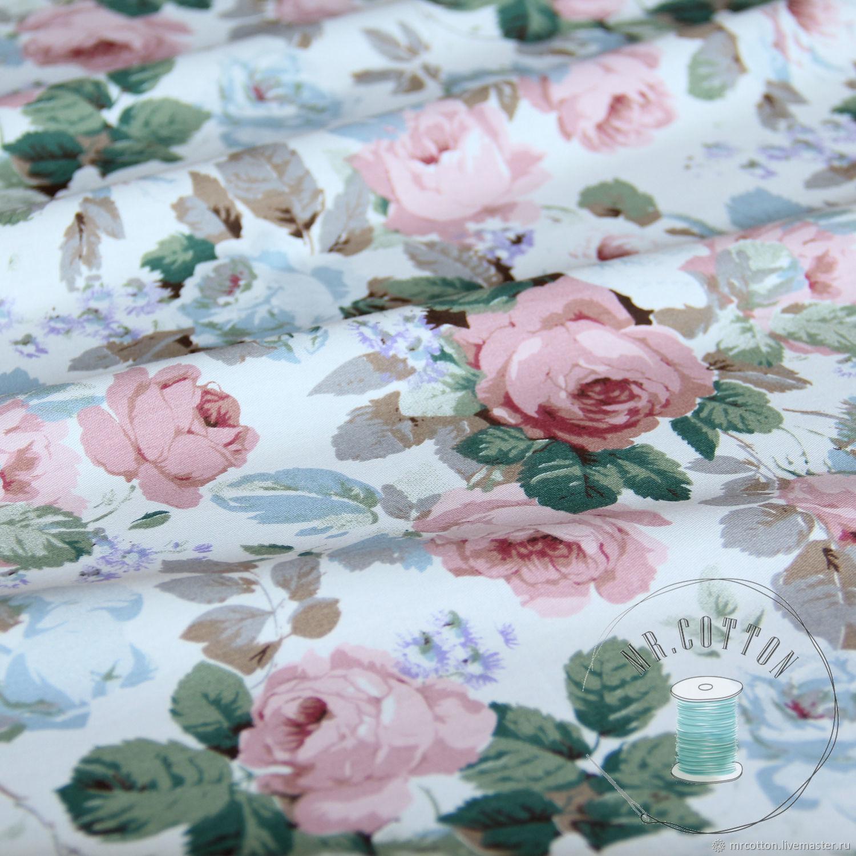 Ткань хлопок с розами. Сатин, Шитье, Москва, Фото №1