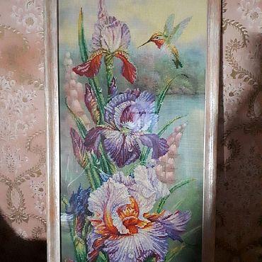 """Картины и панно ручной работы. Ярмарка Мастеров - ручная работа Вышитая картина """"Гармония"""" (цветы и колибри). Handmade."""