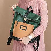 Сумки и аксессуары handmade. Livemaster - original item Druid Green Leather Backpack. Handmade.