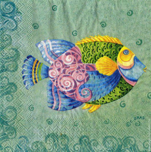 Декупаж и роспись ручной работы. Ярмарка Мастеров - ручная работа. Купить Салфетка Тропическая рыбка ( 4 рисунка ). Handmade.