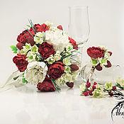 Свадебный салон handmade. Livemaster - original item Wedding package bouquet pins boutonniere white red green. Handmade.