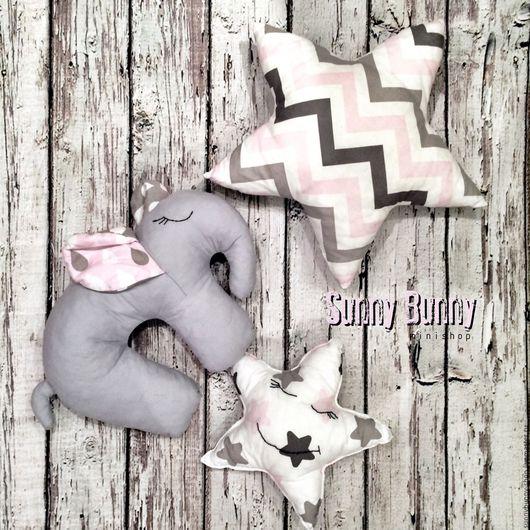 Текстиль, ковры ручной работы. Ярмарка Мастеров - ручная работа. Купить Подушки-игрушки звезды, слоник. Handmade. Бледно-розовый